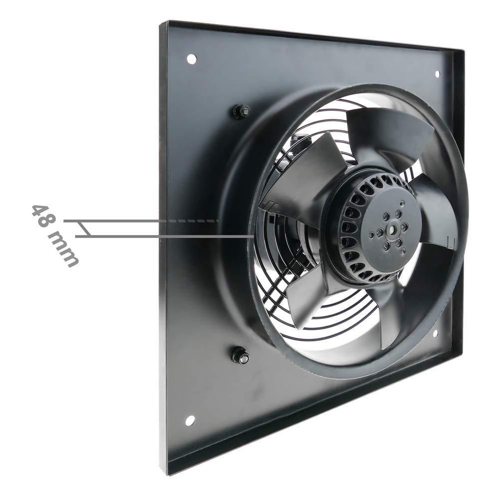 PrimeMatik Extracteur dair de Mur pour la Ventilation Industrielle de 200 mm 2550 RPM carr/é 310x310x48 mm