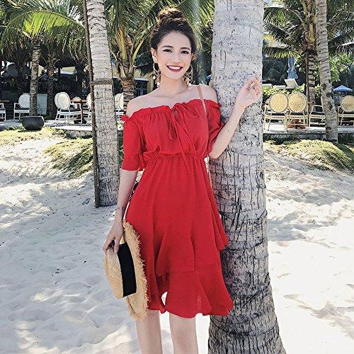 MiGMV?Jupe Sexy Robes 2018 Rouge paule paule Robe Printemps,XL,de Gueules