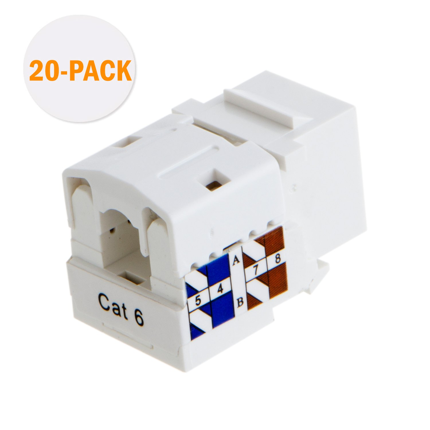 Cablecreation 20 Pack Cat6 Rj45 Keystone Module 110 Block Wiring Diagram Connector White Computers Accessories