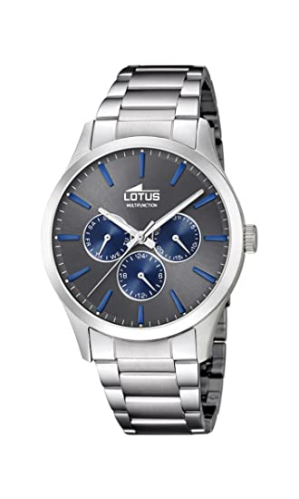 Lotus Watches Reloj Multiesfera para Hombre de Cuarzo con Correa en Acero Inoxidable 18575/3