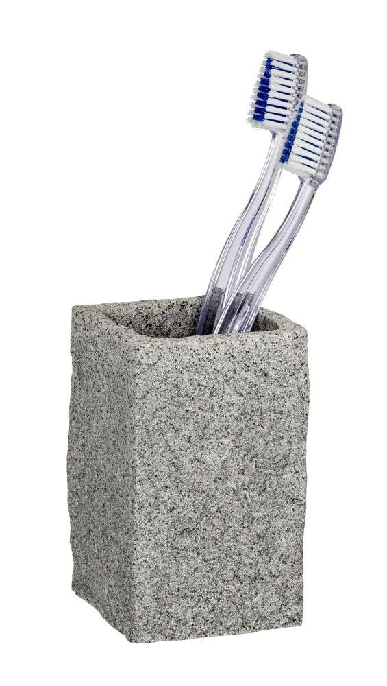 Wenko 20437100 - Bicchiere porta spazzolini, 6 x 10,5 x 6 cm, in poliresina effetto granito