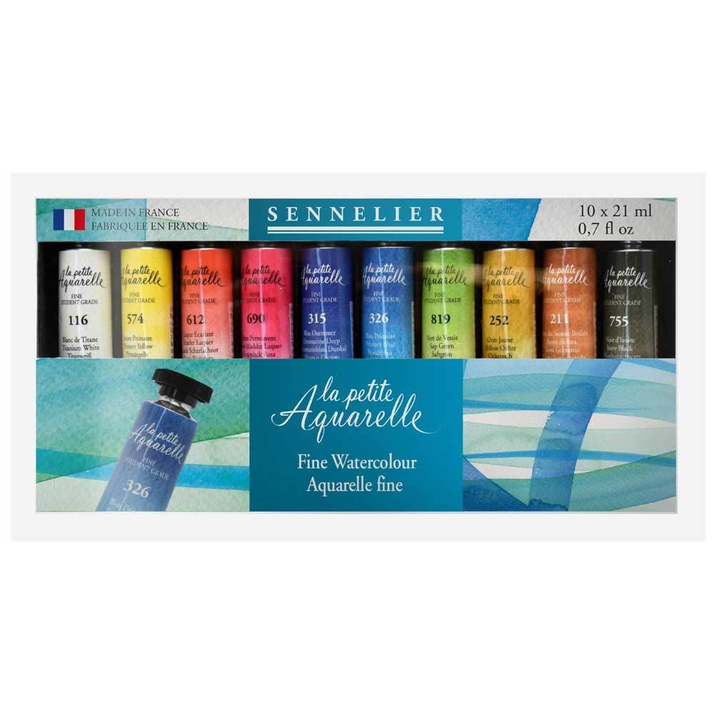 Sennelier La Petite Aquarelle Set, Student Watercolors, Includes Ten 21ml Tubes of Fine Artist Quality Watercolors (10-131684-00) by SENNELIER