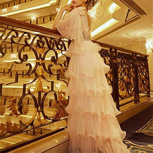 Con Donna Volant Sera Rosa Sposa Da Maxi A Alta Elegante Le Lungo Per Abito Ballo Corta Cerimonia Vita Strati Nuziale Manica xpqOn56X