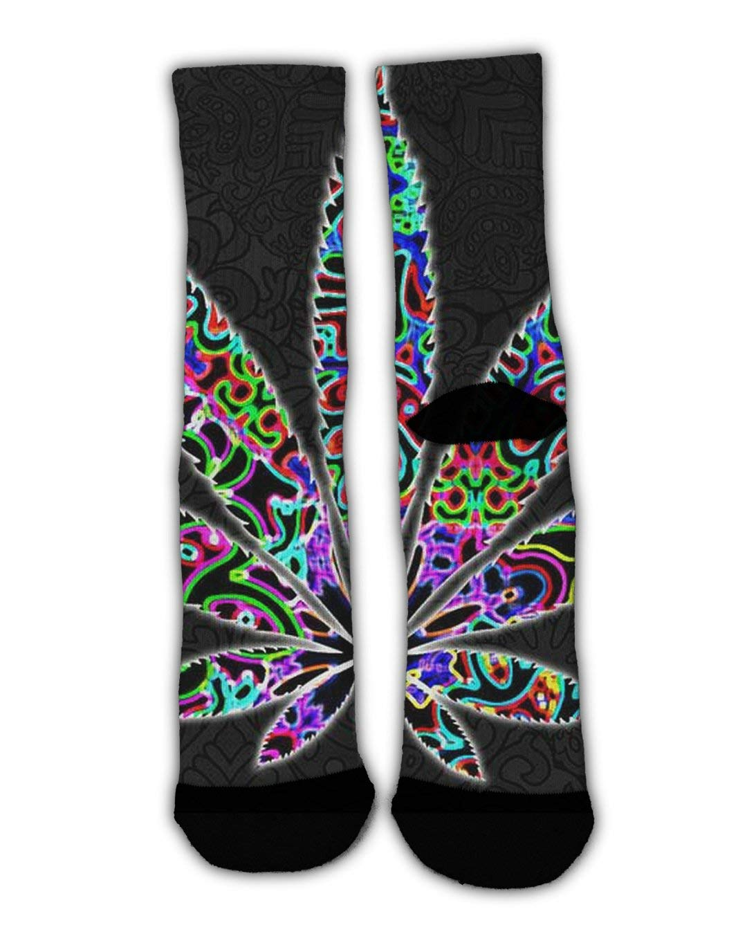 YEAHSPACE Kids Boys Girls Marijuana Weed Leaf Colorful Funky Dress Socks Fashion Cotton Crew Socks Holiday Socks Warm Winter Socks for Christmas New Year