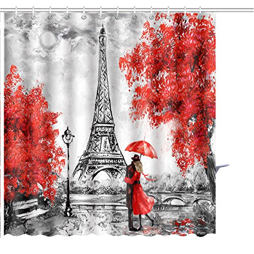 MuaToo Shower Curtain oil painting paris european city landscape france wallpaper eiffel tower black white and red Graphic Print Polyester Fabric Bathroom Decor Sets with Hooks 72 x 78 ()