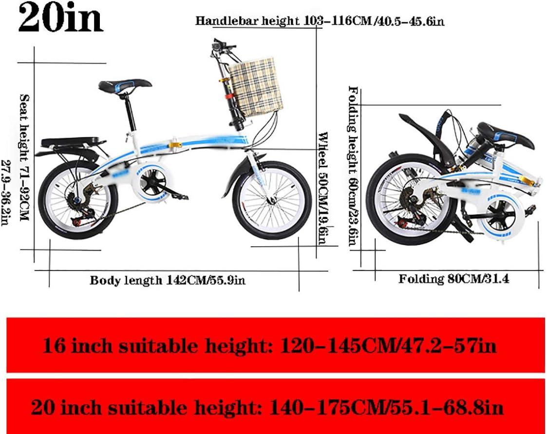 STRTG Bikes Bicicleta Plegable, Marco De Acero De Alto Carbono Bicicleta Plegable+Unisex Adulto Urbana Micro Bike,20 Pulgadas Amortiguador portátil Boy Adultos Bicicleta: Amazon.es: Deportes y aire libre