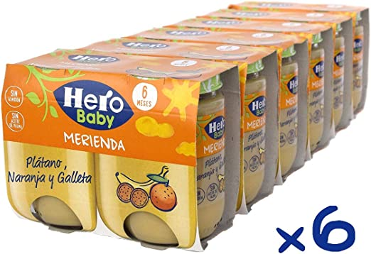 Hero Baby Merienda Tarritos Infantiles 6 Unidades 380 g: Amazon.es ...