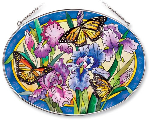 Amia Oval Suncatcher with Iris and Butterfly Design, Hand Painted Glass, 6-1/2-Inch by 9-Inch