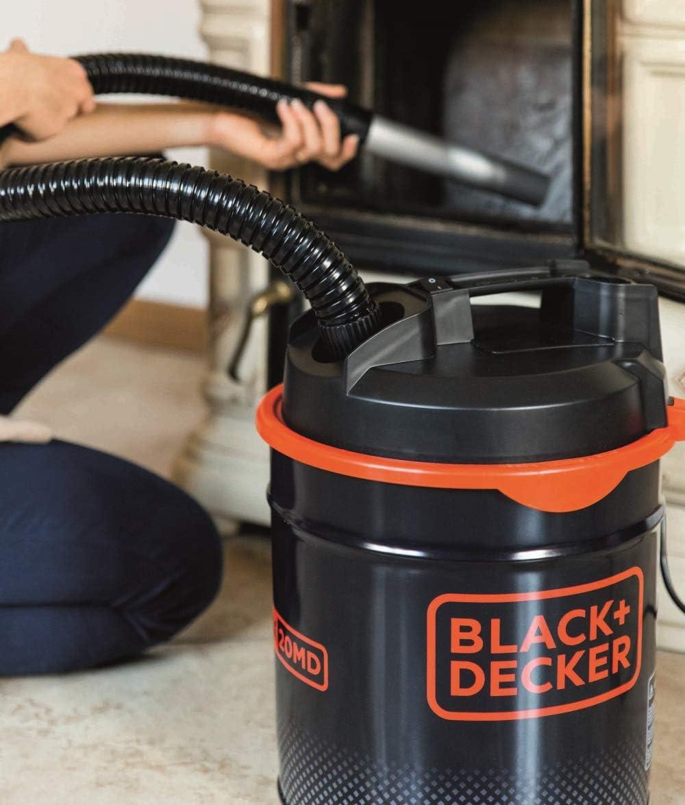 con Funci/ón de Soplado Black+Decker BXVC20MDE Aspirador de Cenizas 900 W, 18 l