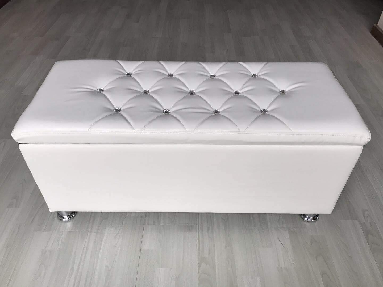elevenfurniture Storage Box Faux Leather Diamante Ottoman Toy Box Foot Stool 101x41x46cm (White)