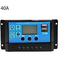 Controlador de carga solar, 60A/50A/40A/30A/20A/10A 12V 24V Controlador de carga solar automático Controlador PWM Puerto…