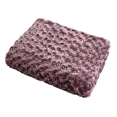 Simple&Opulence Super Soft Microfiber Stereo Rose Pattern Home Furnishing Throw Blanket 50''×60''(Purple)