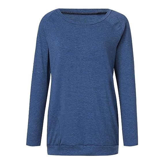 ❤ Las Mujeres de la Camisa Larga de Invierno Antumn, cálida Moda Casual de Manga Larga Cuello Redondo túnica Camisa con Bolsillos Blusas Tops Absolute: ...