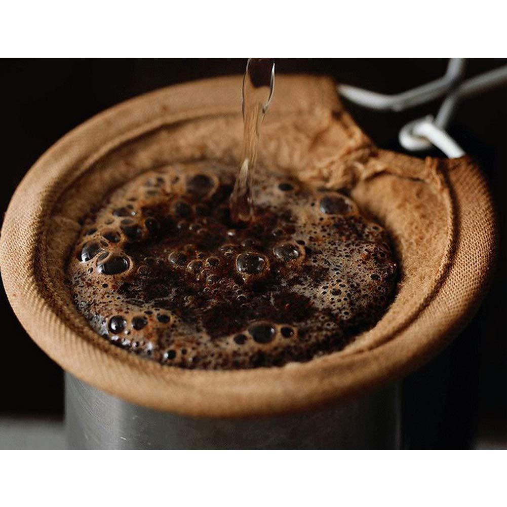 RENNICOCO Teefilter wiederverwendbarer Stoff-Kaffee-Filterbeutel Stoff-Kaffeesiebe mit Metallgriff Baumwollkaffee-Socken-Filter gie/ßen /über Kaffeef/änger-Filter