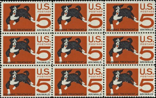 HUMANE TREATMENT FOR ANIMALS ~ ASPCA ~ DOGS ~ CATS ~ PETS #1307 Block of 9 x 5¢ US Postage ()