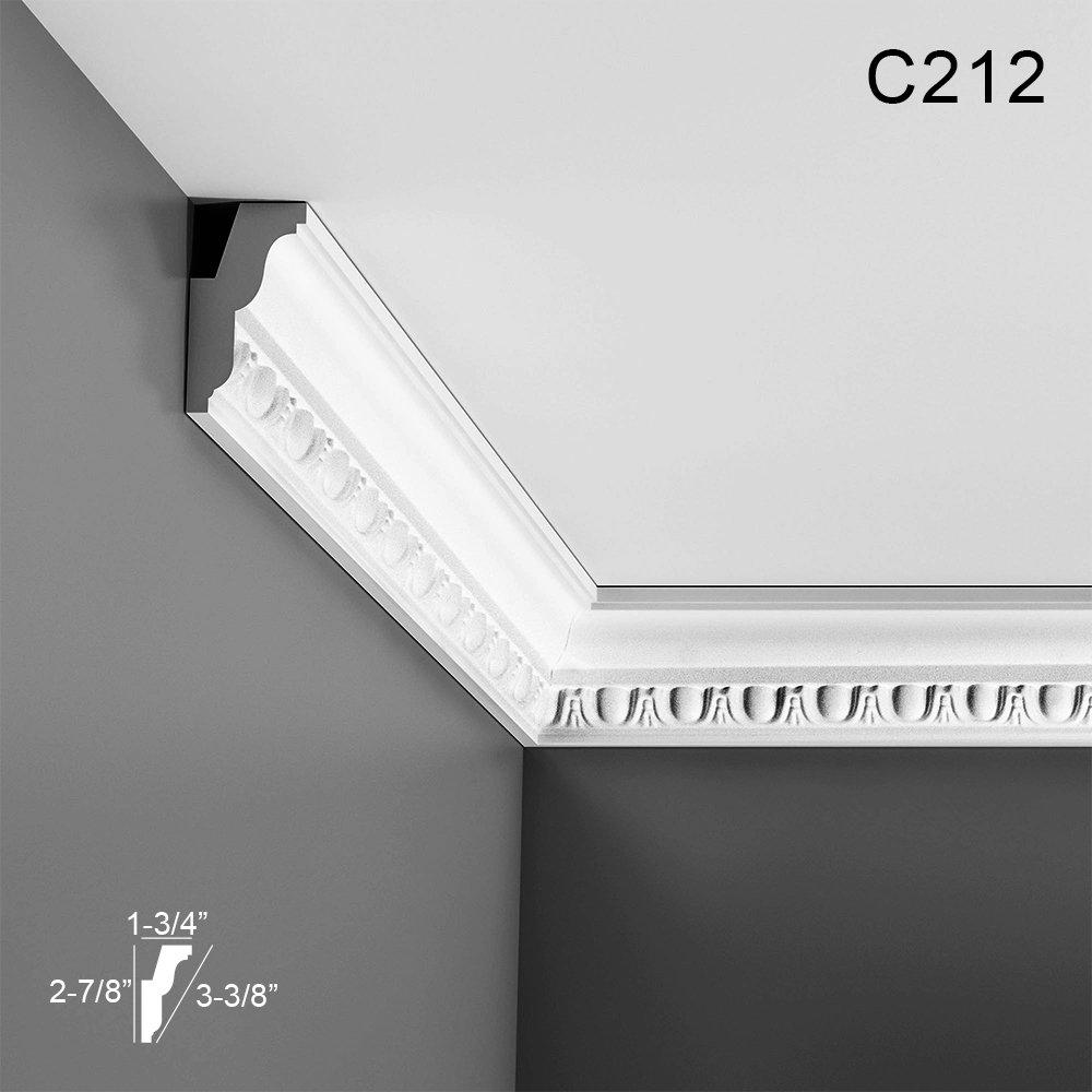 3 Proj 78-3//4 H Orac Decor Crown Moulding C212 Primed Polyurethane Face 1-7//8 1-5//8Des Rep 3-1//2 L