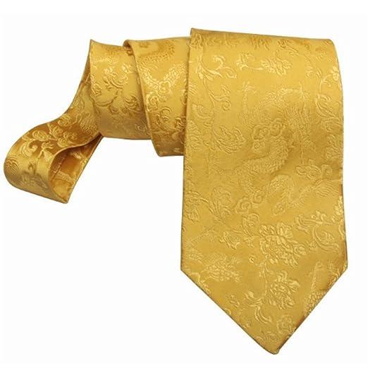 Fgregt Corbata de Seda con patrón Amarillo Dorado y Elegante ...