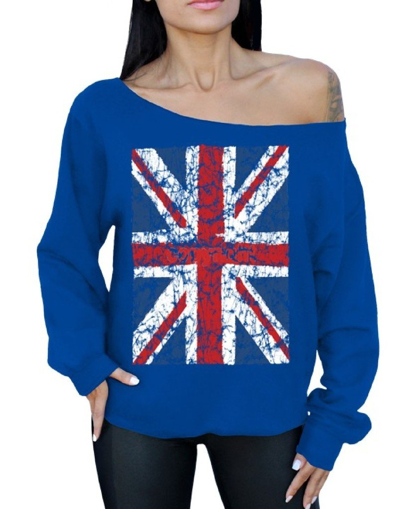 Awkwardstyles Union Jack Flag Off The Shoulder Oversized Sweater British Flag M Blue