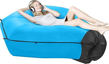 Xiongfeng Wasserdichtes Aufblasbares Sofa Liege Tragbares Outdoor Air Lounger Ideale Luftsofa Sitzsack mit Integriertem Kissen und Tragebeutel f/ür Garten Hinterhof Pool Strand Reisen Camping