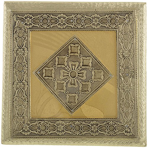 Arka Metal Finish Wooden Handcrafted Gold Desktop, Keepsake, Dry Fruit Gift Box (20 Cms x 20 Cms x 13 Cms, - Chocolate Polished Square