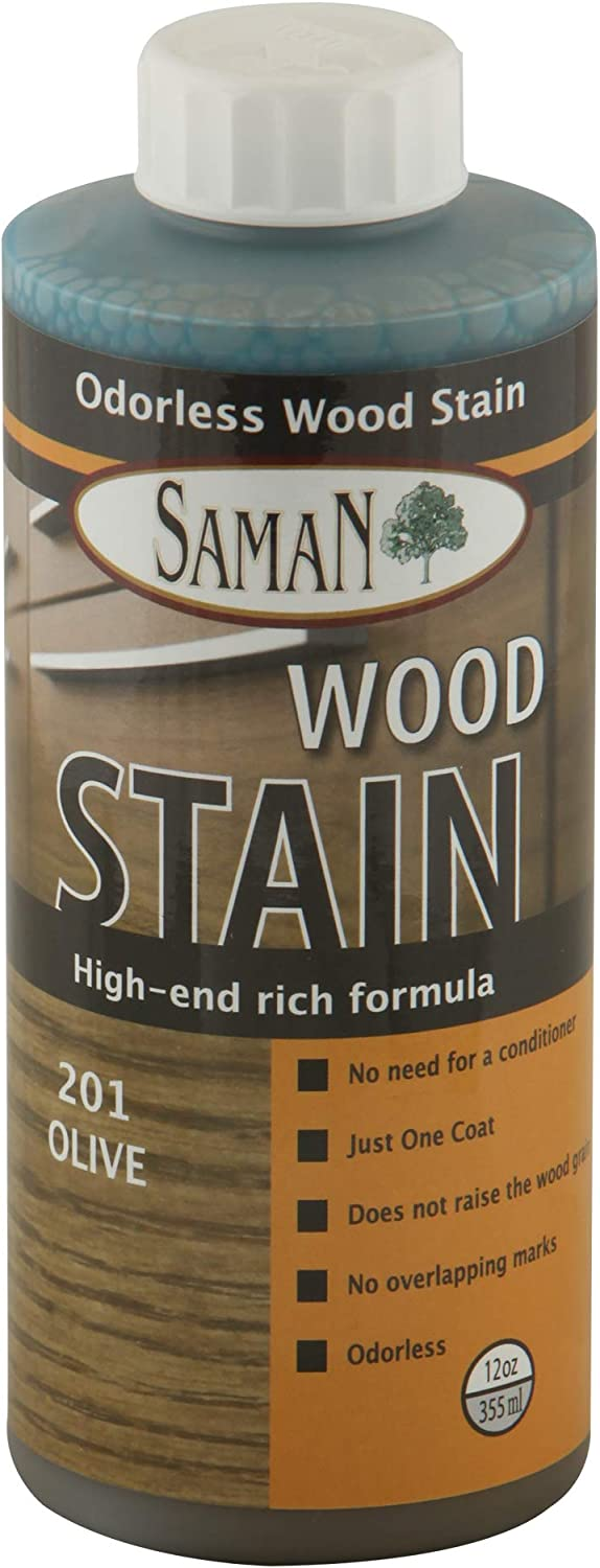 SamaN Interior Water Based Stain for Fine Wood, Olive, 12 oz