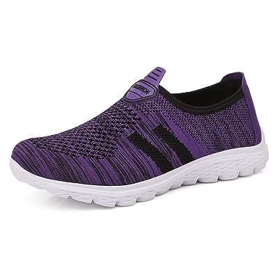 H-Mastery Damen Outdoor Fitnessschuhe Leicht Atmungsaktive Mesh Sport Slipper Walking Schuhe mit Klettverschluss...