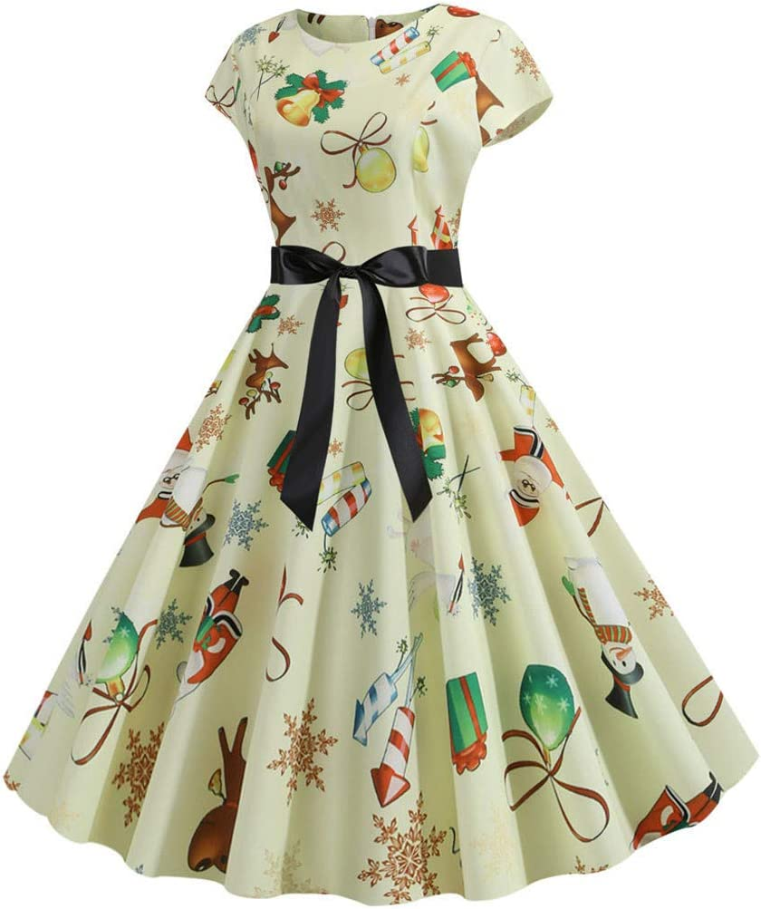 Peioyty Femme Robe /à Audrey Hepburn Classique Vintage 50s 60s Style Robe Rockabilly Swing sans Manche