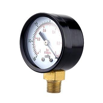 UEETEK Manómetro de presión de vacío para el compresor de aire Agua Gas de petróleo 0