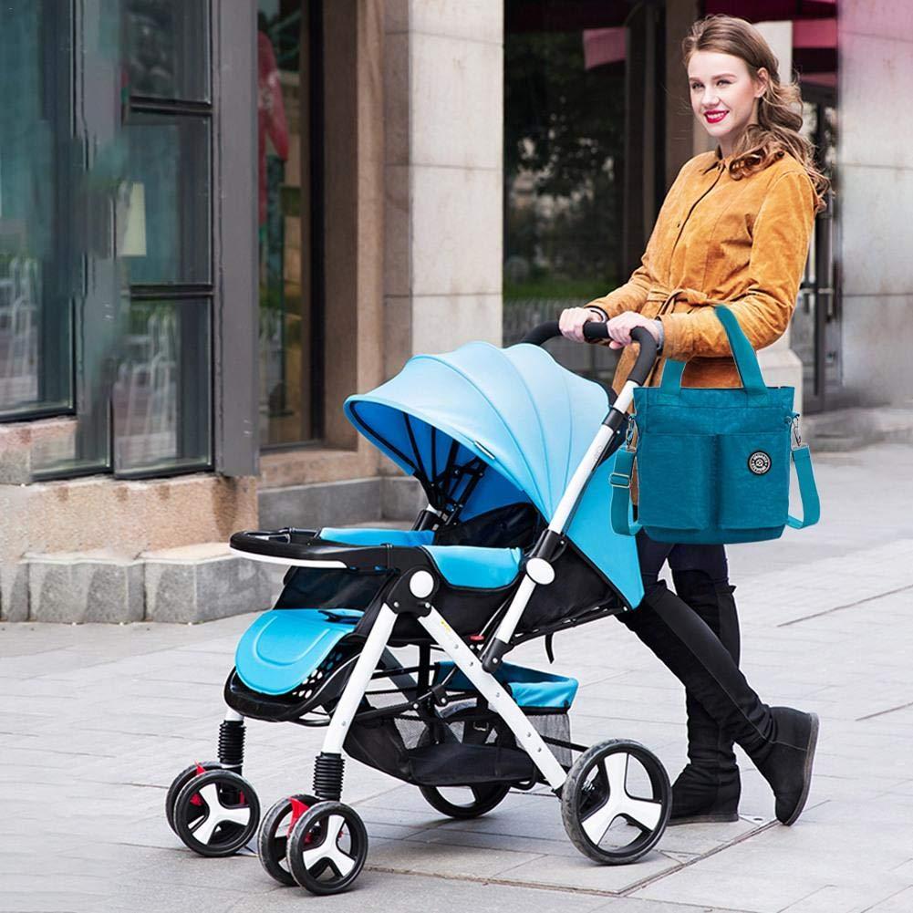 Gro/ße Wickeltasche mit Wickelauflage und isolierter Tasche f/ür Mama und Papa Wood.L Wickeltasche Kinderwagen Gurte und Schultergurt eisblau