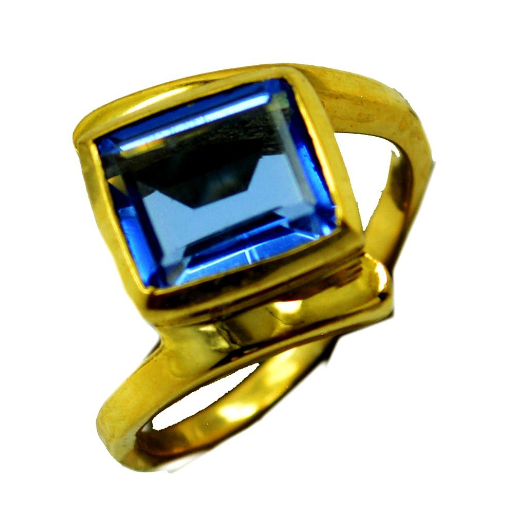 Blue Sapphire CZ Gold Plated Ring For Women Birthstone Rectangle Shape Tension Size 5,6,7,8,9,10,11,12