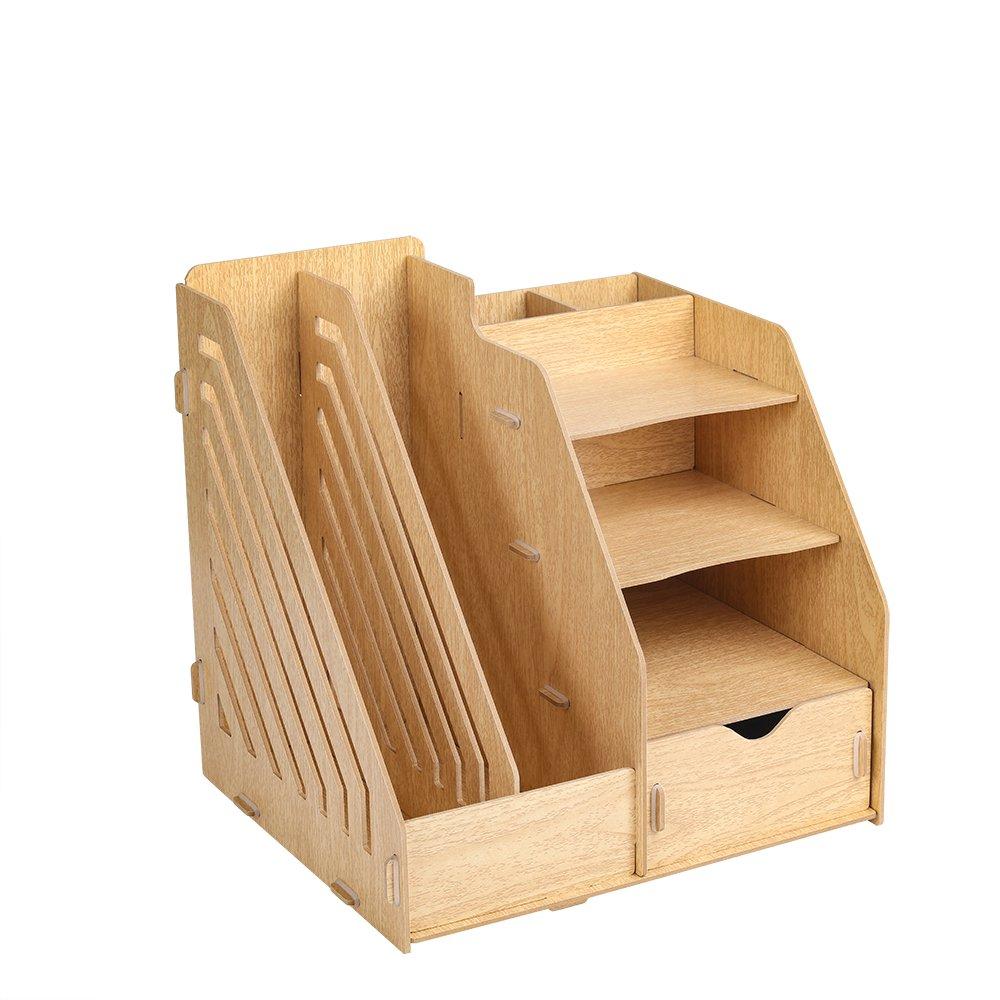 HomJoy - Organiseur de bureau en bois - 2 sections pour dossiers A4 - 5 compartiments - 1 tiroir 30 x 26 x 30 cm bois