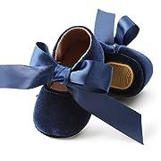 BubbleColor Baby Girls Princess Shoes Newborn Infant Toddler Bow Mary Jane Prewalker Dress Crib Shoes (S:0-6 Months/4.33 , Blue)