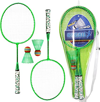 Entweg 2 Player Badminton Racket Set Indoor Outdoor Sports Students Children Practice Badminton Racquet with Cover Bag-Blue