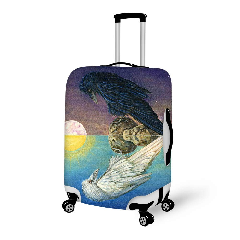 Luggage Cover Full Moon Black White Raven Blackbirds Crow Art Protective Travel Trunk Case Elastic Luggage Suitcase Protector Cover