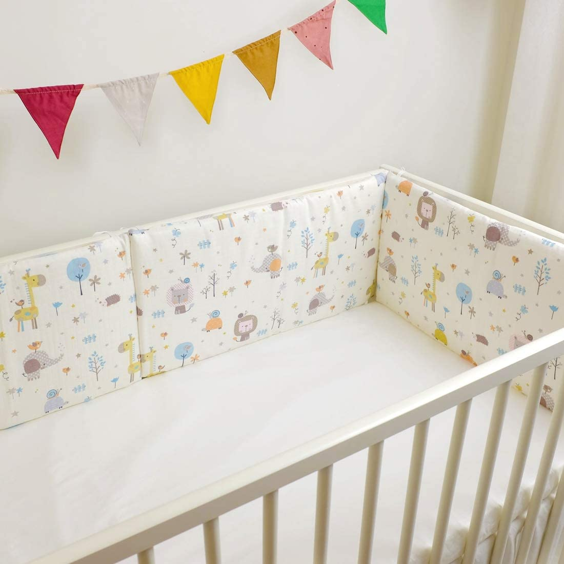23.62 inches Cartoon Animal Pattern Surrui Cot Bumper Durable Baby Bedding Bumpers with Tiebacks Crib Bumper Removeable Washable Safer Crib Sided Bumpers Bedding 3Pcs Sets 30 60cm//11.81