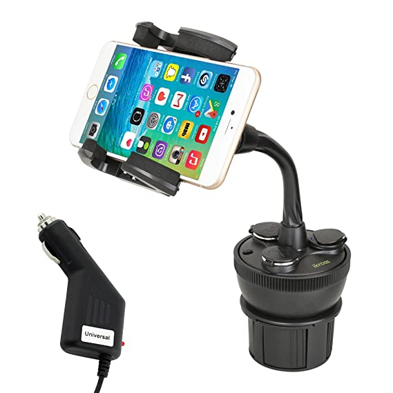 iKross Adjustable Car Vehicle Cup Holder Mount w/ 3 Sockets & 2 USB charging port