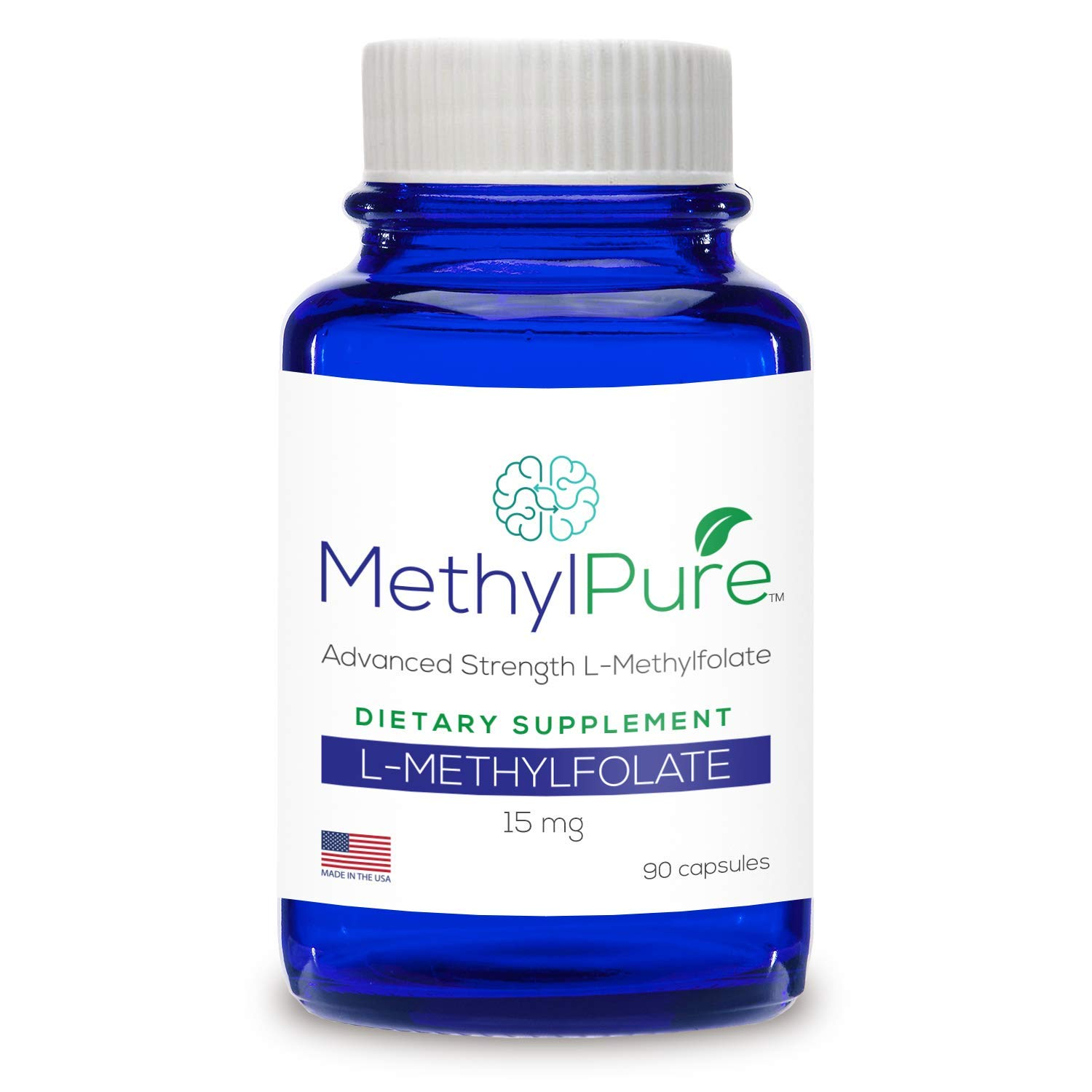 Methylpure L-Methylfolate 15mg - 90 Capsules Maximum Strength - Activated B9 Methyl Folate Supplement