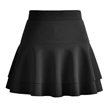8b8d8af03147f Afibi Casual Mini Stretch Waist Flared Plain Pleated Skater Skirt (X-Small,  Black