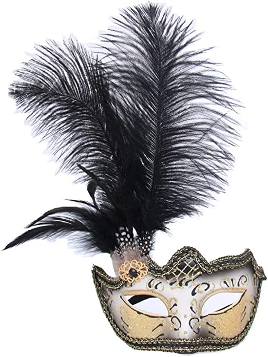 Women Venetian Masquerade Eye Mask Black Feather Flower Halloween Party Prom