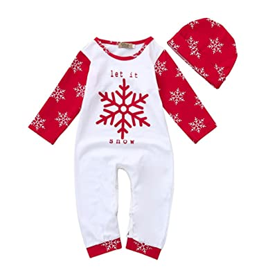 Digood For 0-24 Months Baby, Christmas Toddler Baby Boys Girls Snow Print Romper Jumpsuit Clothes