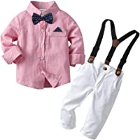 Toyvian Baby Boy Gentleman Outfits Infant Long Sleeve Romper Bib Pants Bow Tie Clothing Set for Kids Toddlers Baby…