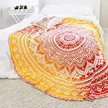 """Exclusive- Indian Ombre Mandala Tapestry Roundie Yoga Mat Decor, Roundie Beach Throw Tapestry, Hippy Boho Gypsy Cotton Table Cover Beach Towel, Oversize Towel, Circle Mandala Beach Towel Decor 70"""""""
