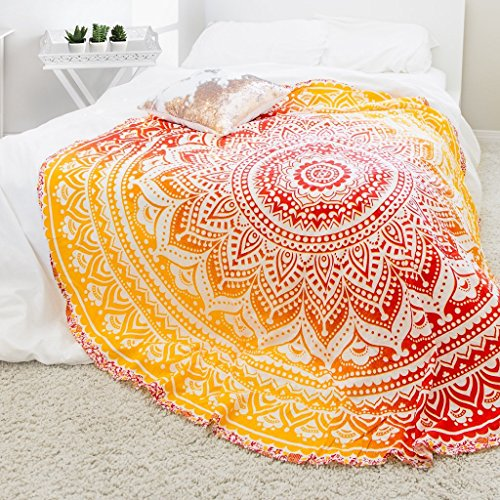 Popular Handicrafts Round Roundie Yoga Sheet Indian Mandala Round Roundie Beach Throw Tapestry Hippy Boho Gypsy Cotton Table Cover Picnic Garden Throw , Round 70