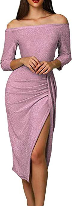 Women's Off The Shoulder Long Sleeve Metallic Glitter Formal Dress
