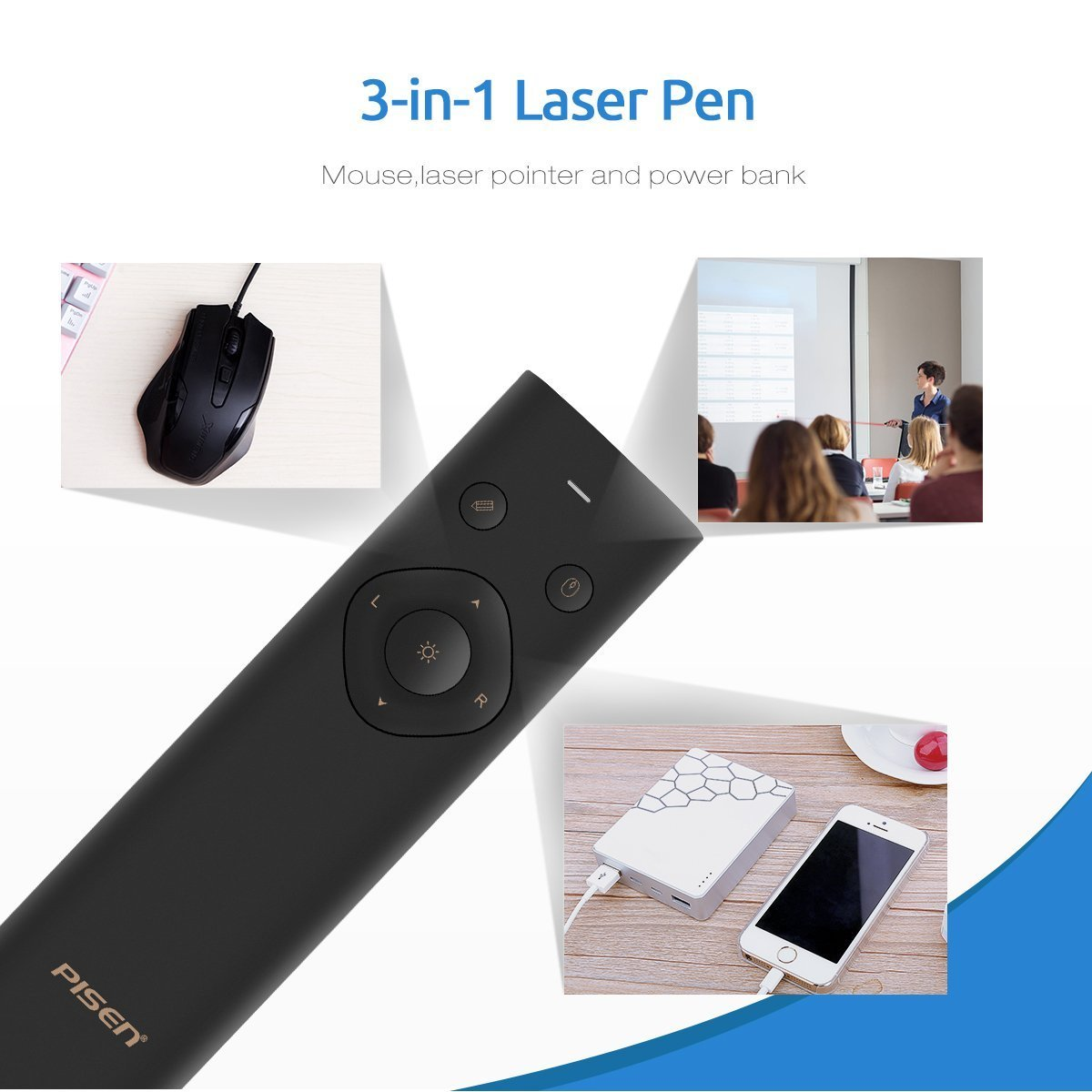 Presentation Remote, PISEN Pointer Presenter Rechargable 2.4GHz PPT Clicker, Multi-Function Fly Mouse 2500mAh Power Bank Wireless Presenter Remote for Computer, MacBook, Projector (Black) by PISEN (Image #2)