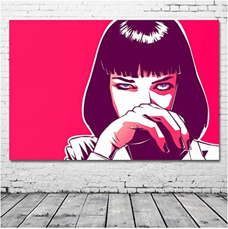 Amazon Com 5stars N R Mia Wallace Picture Pink Artwork Pulp Fiction Painting Wall Art Canvas Posters And Prints Modern Home Decorations 50x90cm No Frame Posters Prints