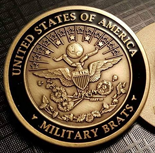 MILITARY BRAT ID SEAL CHALLENGE COIN AND PIN SET