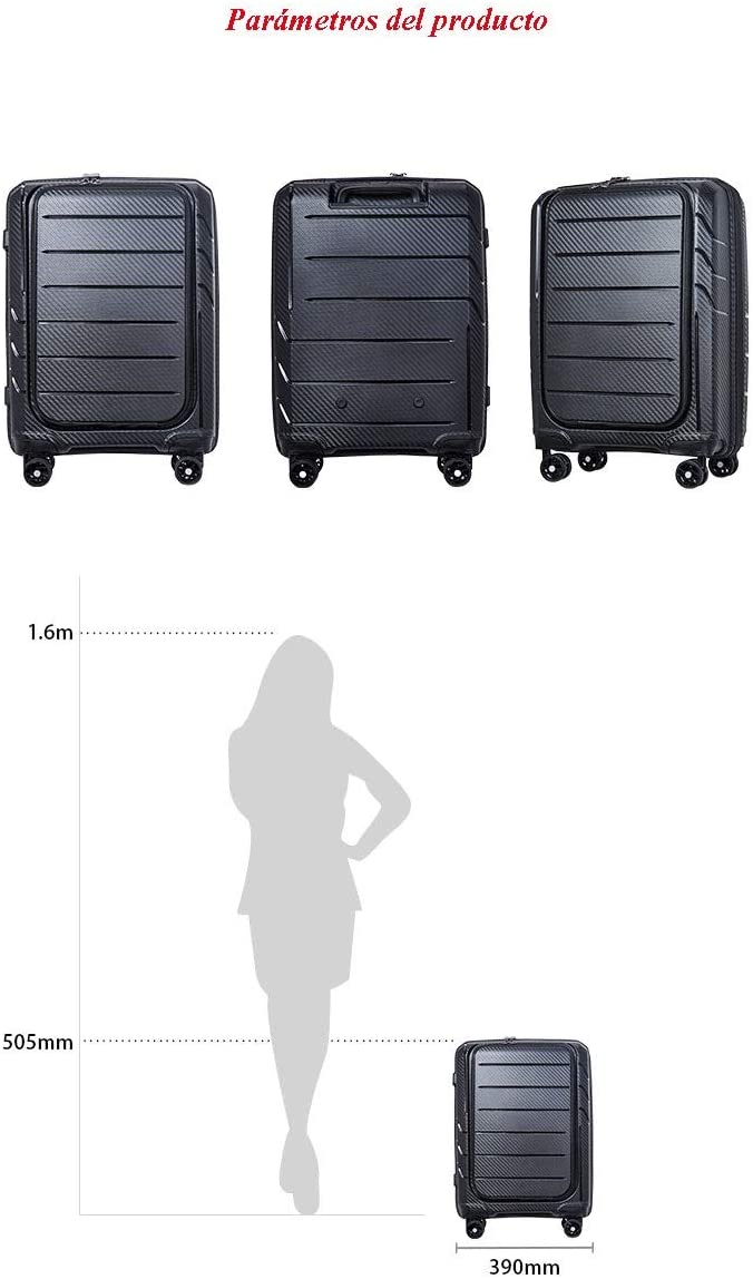 Color : Gray Mihaojianbing 20-inch Business Mens Large-Capacity Luggage Front Open Suitcase Black Gray 50.5 39 23 cm