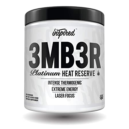 Inspired Nutraceuticals 3MB3R Platinum Heat Reserve Intense Thermogenic, Carnitine, Ashwagandha, Dynamine, Cocobuterol, Dandelion Extract, Choline Strawberry Haze 40 Servings