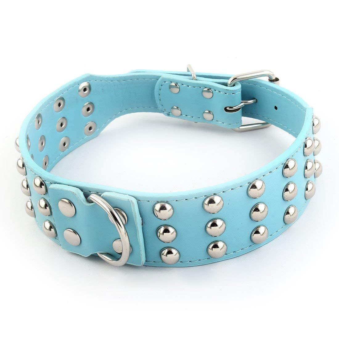 Faux Leather Pet Dog Studded Rivet Buckle Adjustable Neck Collar L Size Sky bluee